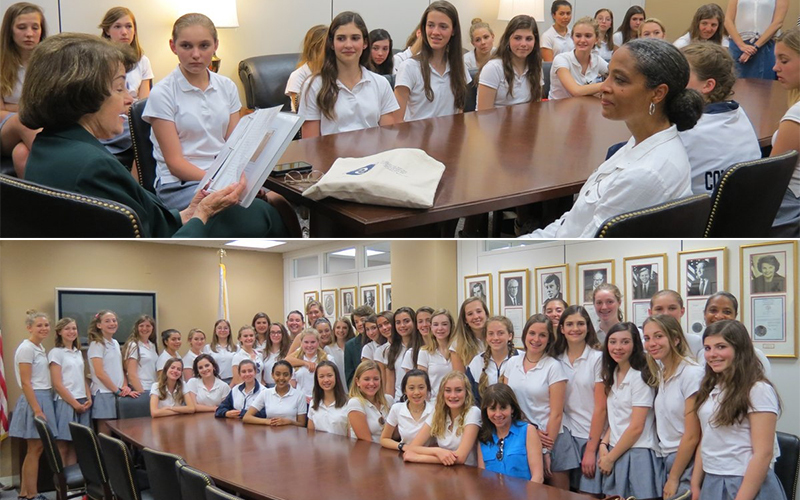 Eighth Grade Girls Surprise Senator Dianne Feinstein '51